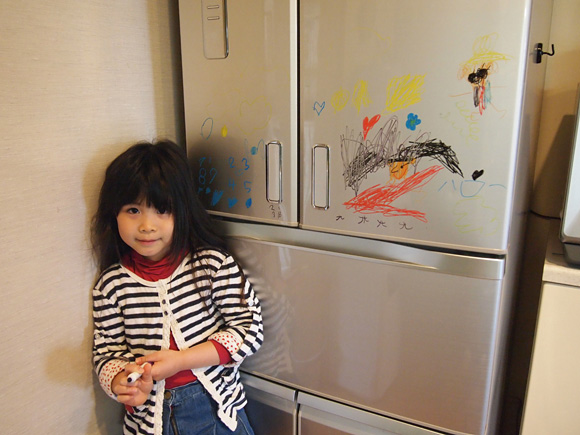 冷蔵庫にお絵描き