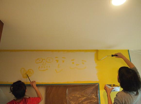 キッチンの壁塗り
